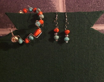 Sterling silver and bead bracelet and earring set