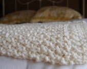 Hand Knit Baby/Crib Blanket - Cream