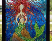 Mermaid on a rock, original glass painting (stained glass)