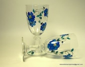 Wine Glasses Hand Painted Home Interior Design Bridal Shower Upcycled Blue Flowers Wine Tasting