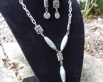 Green Jasper Necklace & Earrings Set