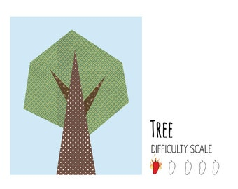 Tree paper pieced quilt pattern in PDF