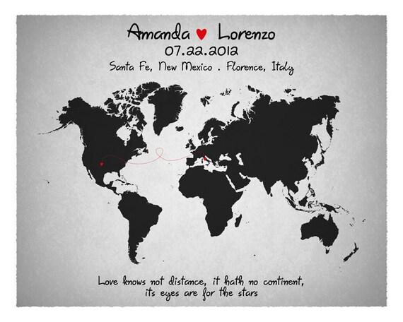 Wedding Guest Book Custom World Map Long Relationship