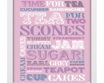 A4 Unframed Typographic Word Art Print - Time for Tea