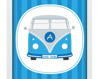 A4 Unframed Typographic Word Art Print - Personalised Cool Dude Campervan - Perfect for a special occasion