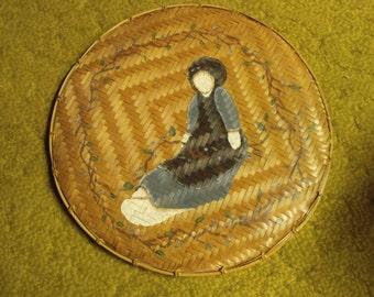 Shaker style basket weave vintage plaque