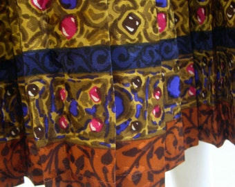 Vintage Pleated YSL Printed Silk Skirt 1980s