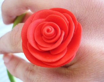 Rose shaped ring. Handmade rose shaped ring with polymer clay