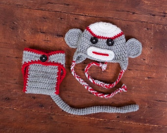Super cute and cuddly sock monkey set. Traditional Colors