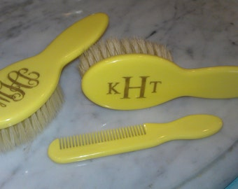 Engraved Baby Hair Brush And Comb Set Personalized Baby Gift
