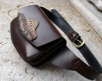 LEATHER HANDMADE BAG / Bag / Hip Bag / Leather Hip Bag / Leather Bag / Accessories / Handbag / Python Bag /  Leather Brown Bag.