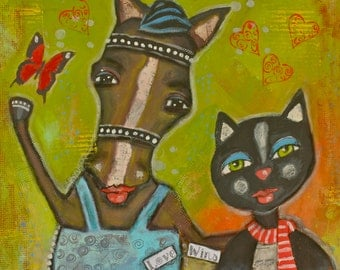 Horse and Cat Original Mixed Media Painting - Outsider Art