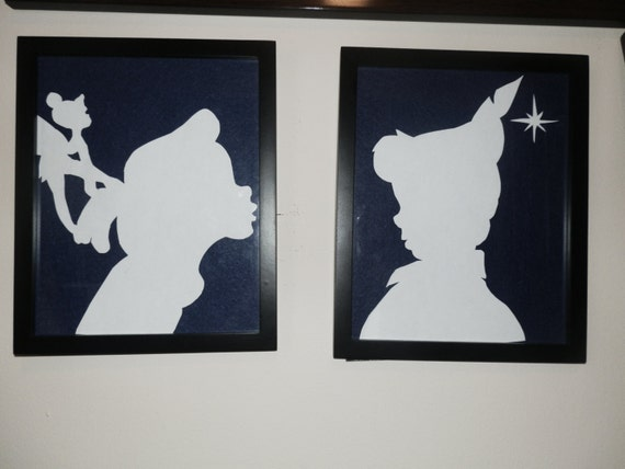 wendy and peter pan framed silhouette