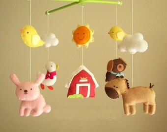 "Baby crib mobile, safari mobile, animal mobile ""Barnyard 2"" - Duck, Horse, Rabbit, Farm dog, Chicks"