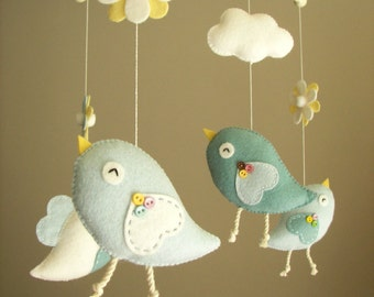 "Baby crib mobile, Bird mobile, felt mobile, nursery mobile, baby mobile ""Bird - baby blue"""
