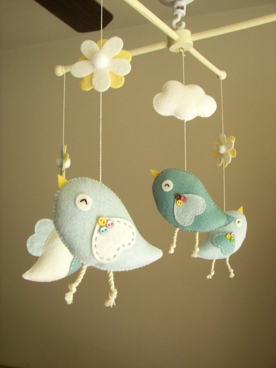 baby crib mobile bird mobile felt mobile nursery mobile. Black Bedroom Furniture Sets. Home Design Ideas