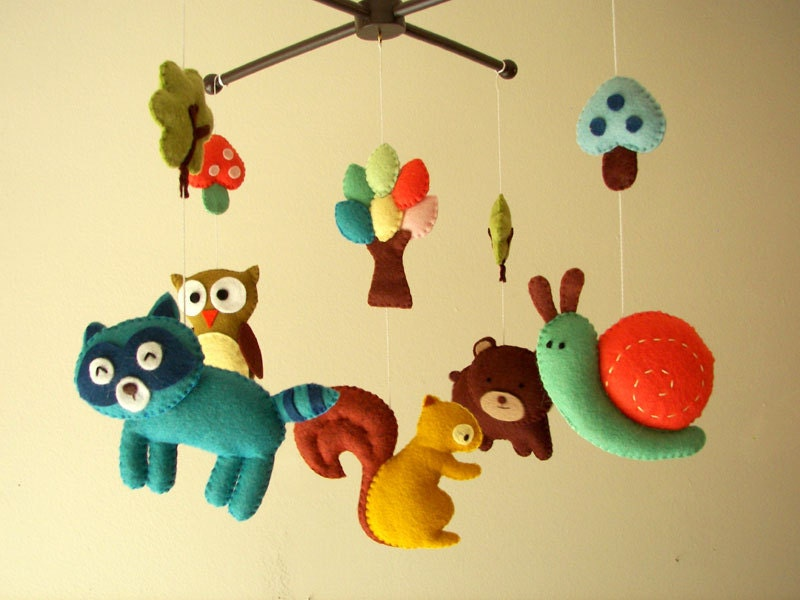 Baby Mobile Holz Schmetterling ~ Baby crib mobile forest mobile animal mobile felt by Feltnjoy
