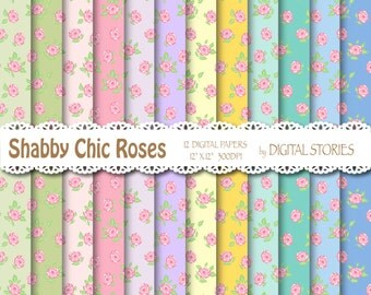 "Shabby Chic Digital Paper: ""SHABBY WILD ROSE"" Floral background with roses for scrapbooking, invites, cards"