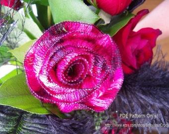 CROCHET ROSE PATTERN, Crochet pattern, Fall Flower, Flower Brooch, Hat Accessories, Pdf Crochet Pattern, Floral Pattern, Fall Pattern