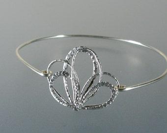 Silver Bangle Bracelet, Tiara Bangle Bracelet, Wedding Bangle Bracelet, Ribbon Bangle Bracelet, Bridesmaid Gifts, Bridal Party (111S.)