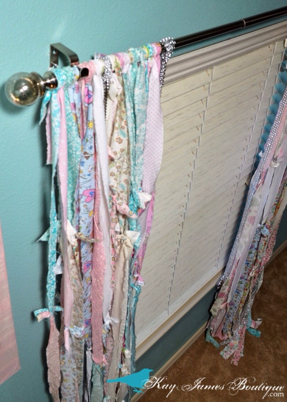 Items similar to fabric strip shabby chic curtains unique for Unique childrens fabric
