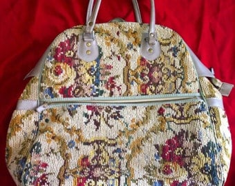 Vintage tapestry bag large with pockets