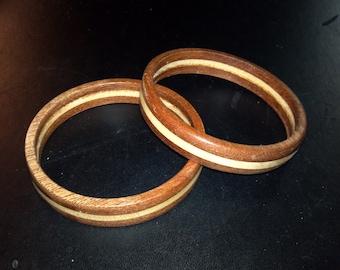 Bi-species wood bangle bracelet