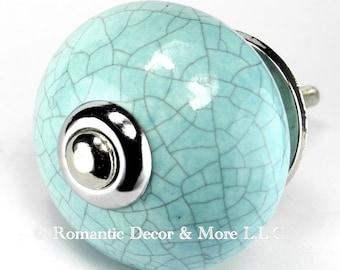 Set/5 Aqua Ceramic Knobs, Kitchen Drawer Pulls, Dresser Drawer, Bathroom Knobs with Chrome Hardware.