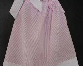 Seersucker Monogrammable Pillowcase Dress for little Girls- Available in navy blue, pink and a light blue/teal