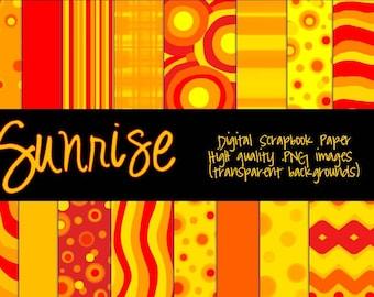 Sunrise - Digital Scrapbook Paper - Instant Download