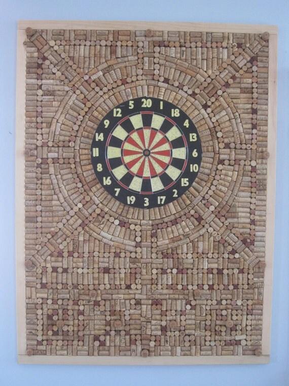 items similar to dart board wine cork board on etsy. Black Bedroom Furniture Sets. Home Design Ideas