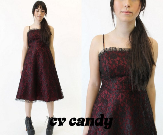 Items similar to SALE! 80s Vintage Formal Dress / 1980s Grunge Black Lace Dress / The Licorice ...