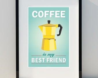 Art for home, coffee poster, vintage poster, kitchen, retro decor, scandinavian design, print, coffee, A3