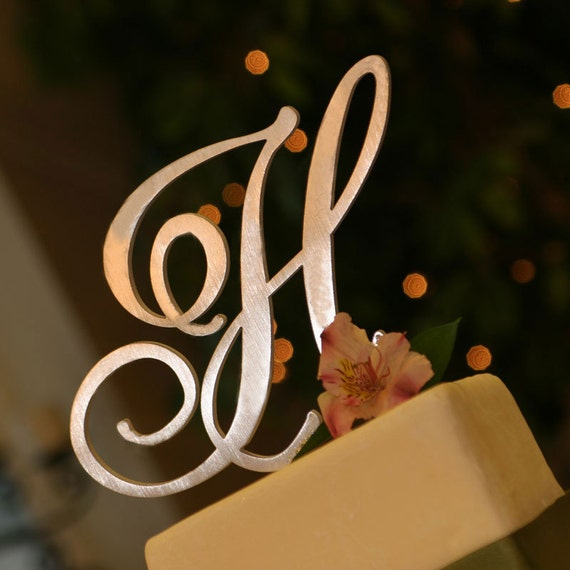 metal monogram cake topper letter  u0026 font of your choice