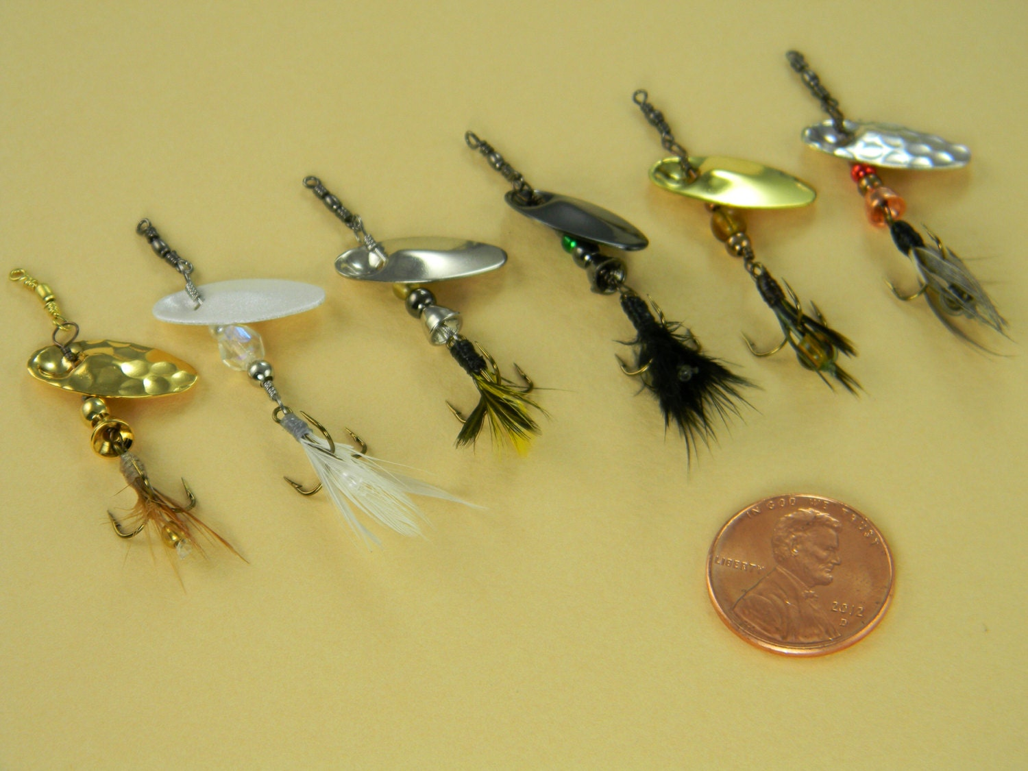 Size 1 set hand tied in line spinner fishing lures set of for How to make a fishing spinner