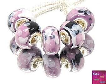 Black and Purple European Charm Beads, Purple Big Hole Beads