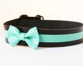 Latex Collar with Stripe and Mini Bow