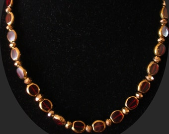 Ruby and Bronze Necklace and Earring Set