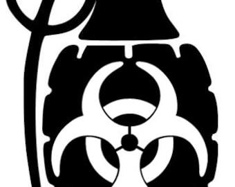 "Bio-Hazard Grenade 6"" Vinyl Decal Widow Sticker for Car, Truck, Motorcycle, Laptop, Ipad, Window, Wall, ETC"