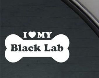 "I Love My BLACK Lab Bone 6"" Vinyl Decal Widow Sticker for Car, Truck, Motorcycle, Laptop, Ipad, Window, Wall, ETC"