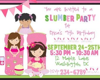 Slumber Party Birthday Invitation Sleeping Bags Printable Sleepover Thank You Note Girl Owl Slumber Party Sleepover Invitation Tween Party