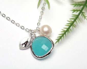 Personalized leaf iInitial gemstone necklace,initial leaf necklace,Wedding Jewelry,Bridesmaid Jewelry,Bridesmaid Necklace,Aqua Tiffany blue