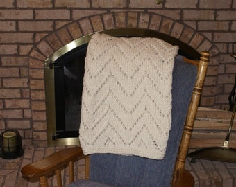 Afghan Handmade Knit Lacy Chevron Pattern Cream Color
