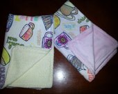 2 Tea Party  Burp Cloths for Girls. Unique Baby Gift.
