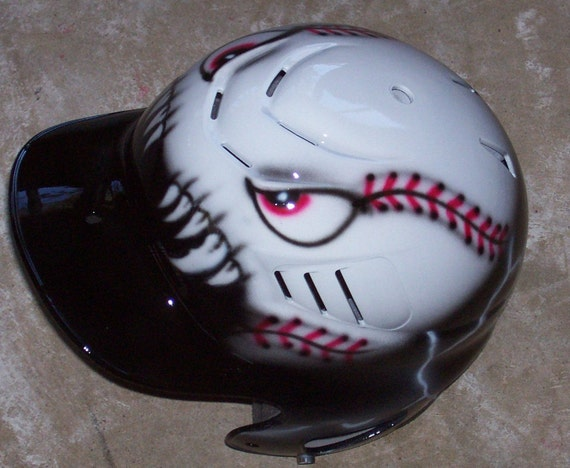 Airbrushed Batting Helmet Mean Baseball New Personalized