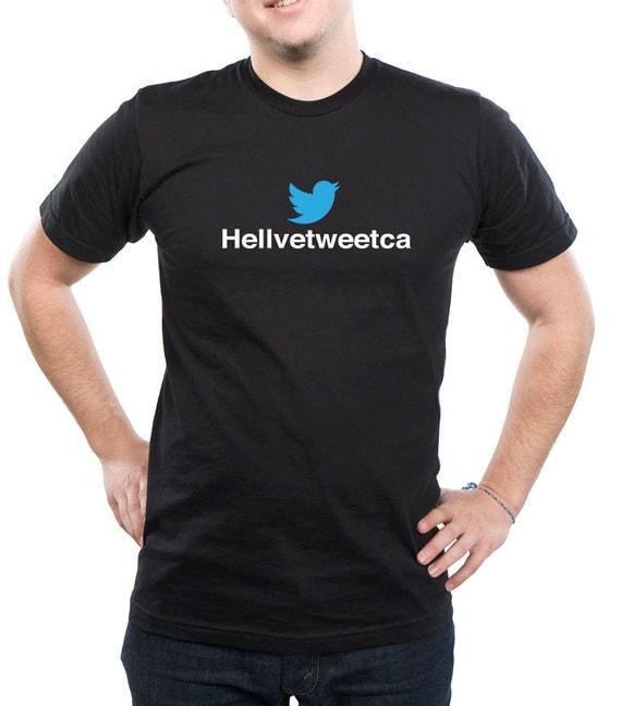 Hellvetica Helvetweetca Twitter tshirt Geeks  , White and black Tshirt