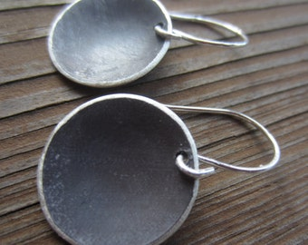 Summer SALE! Silver Disc Earrings - Large Eclipse - hanging oxidized sterling silver discs
