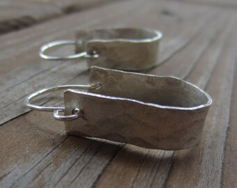 Hammered Silver Hoop Earrings, Horseshoe Earrings