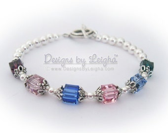 Swarovski Birthstone Bracelet - You CHOOSE Colors & Size