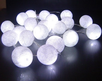 White Cotton Ball Battery Operated Led Fairy Lights